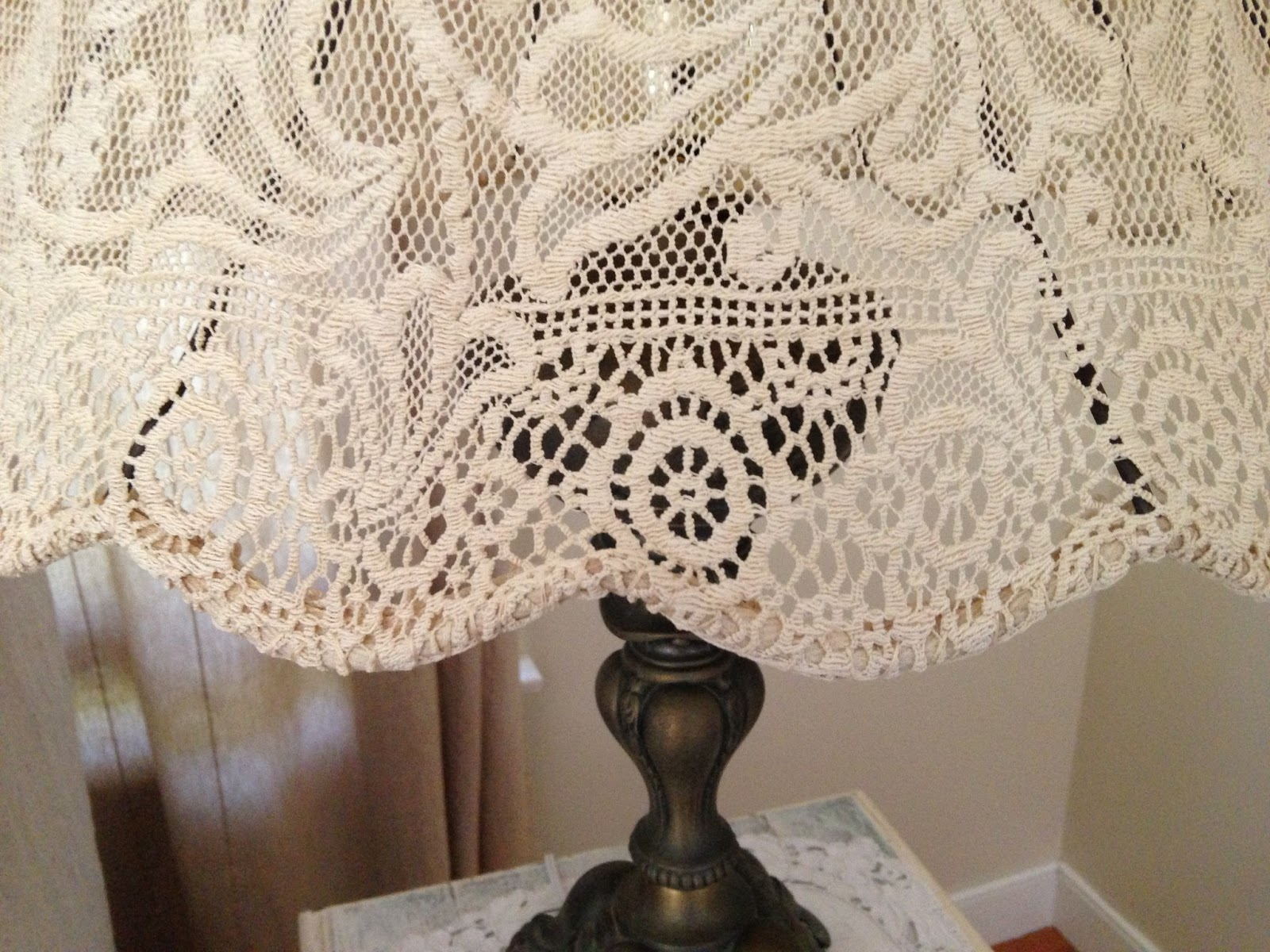 Red Treasures Too Diy Lampshade Using An Antique Lace Tablecloth