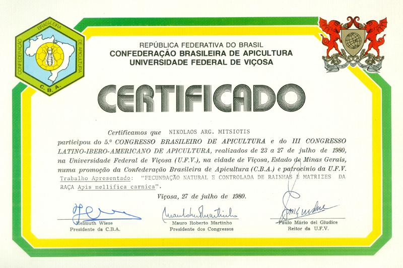 Certificado de participação de Nikolaos como apresentador nos eventos da Universidade Federal de Viçosa. Foto: acervo Nikolaos Argyrios Mitsiotis