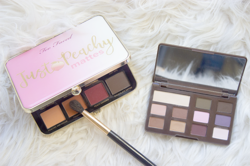 Flatlay of Too Faced Just Peachy Mattes palette and Chocolate Chip palette