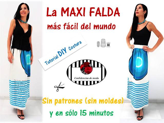 DIY. Cómo hacer la maxi falda más fácil del mundo. Sin patrones (moldes) y sólo en 15 minutos
