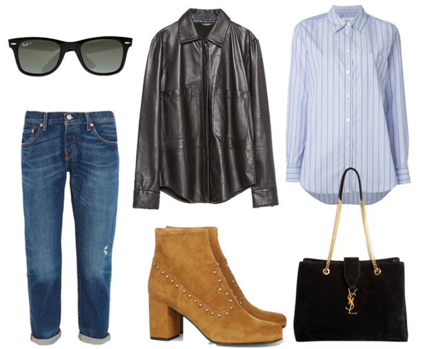 Zara Black Leather Shirt, Euipment Striped Blue Shirt, Levi's 501 CT distressed mid-rise straight-leg jeans, Ray Ban classic iconic Wayfarer, Saint Laurent Studded suede ankle boots, YSL Monogramme Shopper