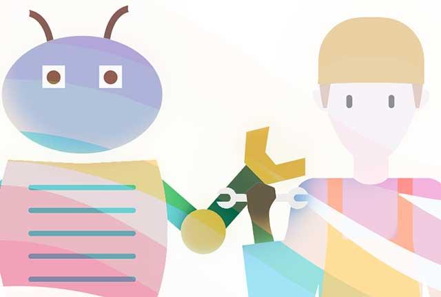 Un robot y un humano con una herramienta