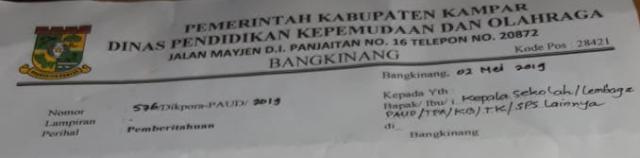 Jadwal Pelaksanaan Pendidikan Anak Usia Dini (PAUD) Berkaitan Datangnya Bulan Ramadhan 1440 H