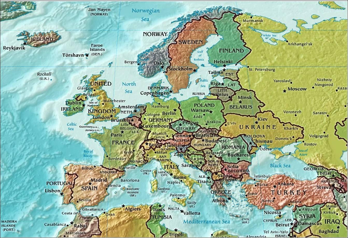 Kaart Europa Topografie Landen Kaart Europa Topografie Landen