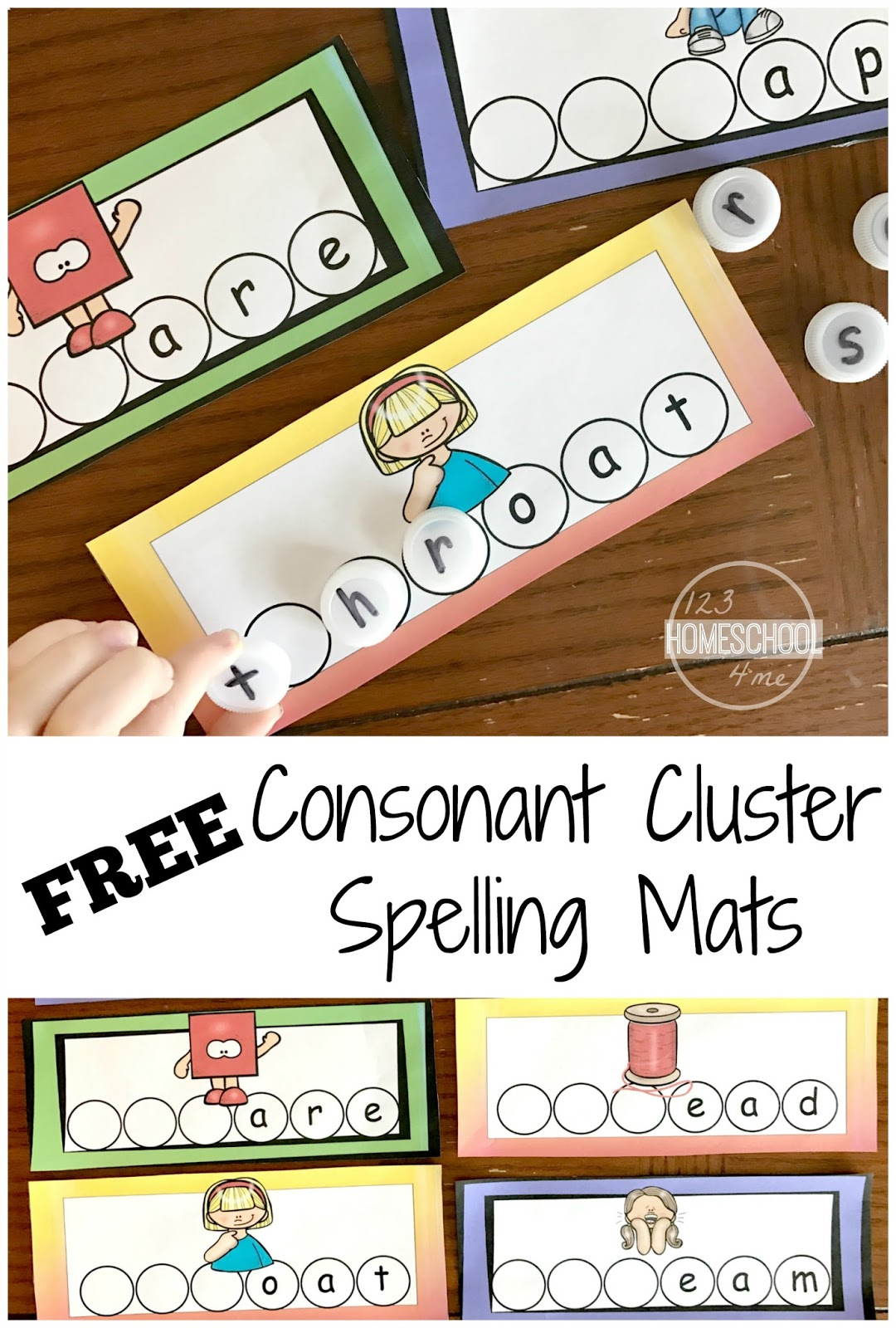 Free Consonant Clusters Spelling Mats