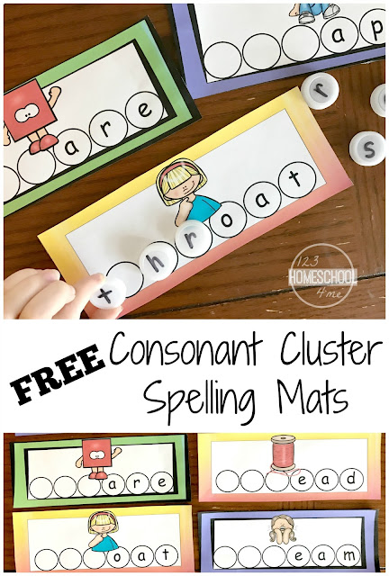 FREE Consonant Cluster Spelling Mats are a great way for first grade and 2nd grade students to practice identifying, reading, and spelling consonant clusters.