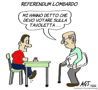 anziani, referendum autonomia, referendum lombardia, tablet, tecnologia, umorismo, voto elettronico, vignetta, satira