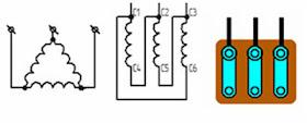 """Подключение электродвигателя """"треугольник"""" (для 220 вольт)"""