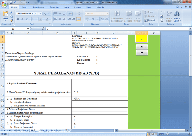 Aplikasi Surat Perjalanan Dinas (SPD) Sederhana Format Microsoft Excel