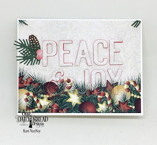 Our Daily Bread Designs Custom Dies: Peace & Joy, Pine Branches, Pinecones, Paper Collection: Christmas 2017