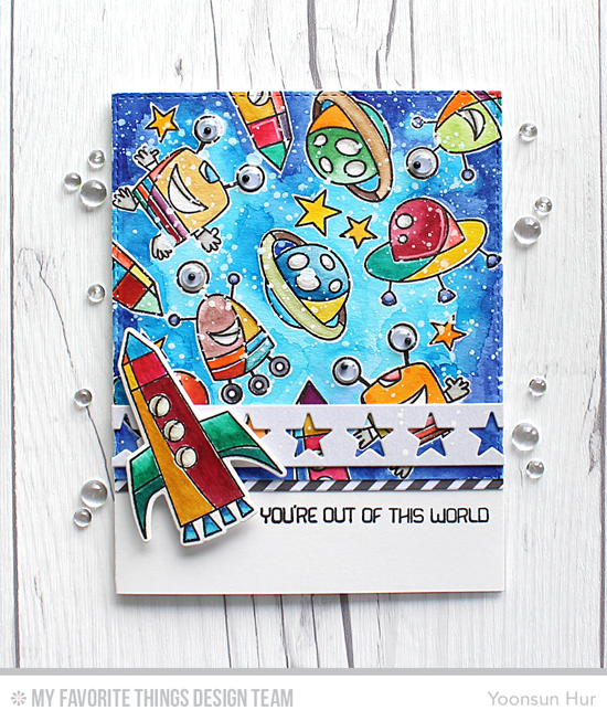 Out of This World Card by Yoonsun Hur featuring the Out of This World stamp set and Die-namics and the Star Strips and Blueprints 25 Die-namics #mftstamps