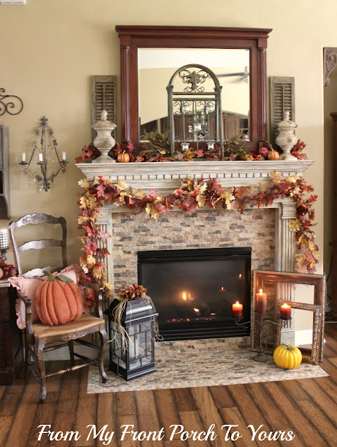 French -Country -Fall -Mantel- Fireplace-From My Front Porch To Yours