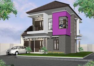Rumah 2 Lantai dengan Paduan Batu dan Warna Ungu