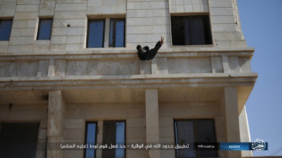 ISIS has released pictures of a man being thrown off a roof in Syria