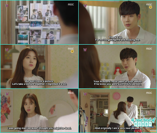 kang chul in yeon juo room saw his and yeon o pictures from the webtoon - W - Episode 12 Review