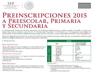 Inscripciones primaria secundaria preescolar sep df for Sep convocatoria plazas 2016
