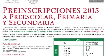 Inscripciones Primaria, Secundaria, Preescolar, SEP DF 2015-2016
