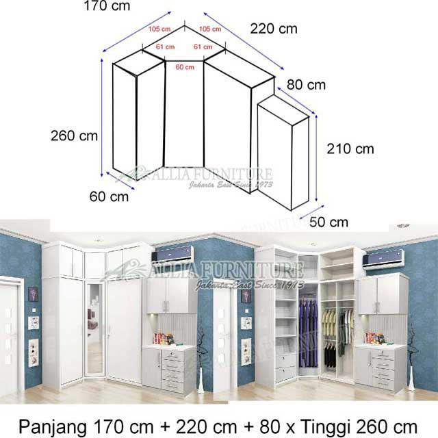 lemari pakaian minimalis sudut model xavi