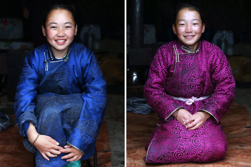 Ulziisaihan and Ulziitsetseg, daughters of Narahuu & Bolorma - Meet The Tsaatan Nomads In Mongolia Who Live Like No One Else