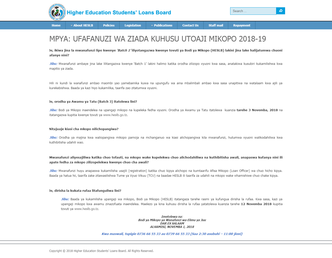 HESLB: MORE CLARIFICATION ON LOAN PROVISION PROVISION ACADEMIC YEAR 2018/2019.