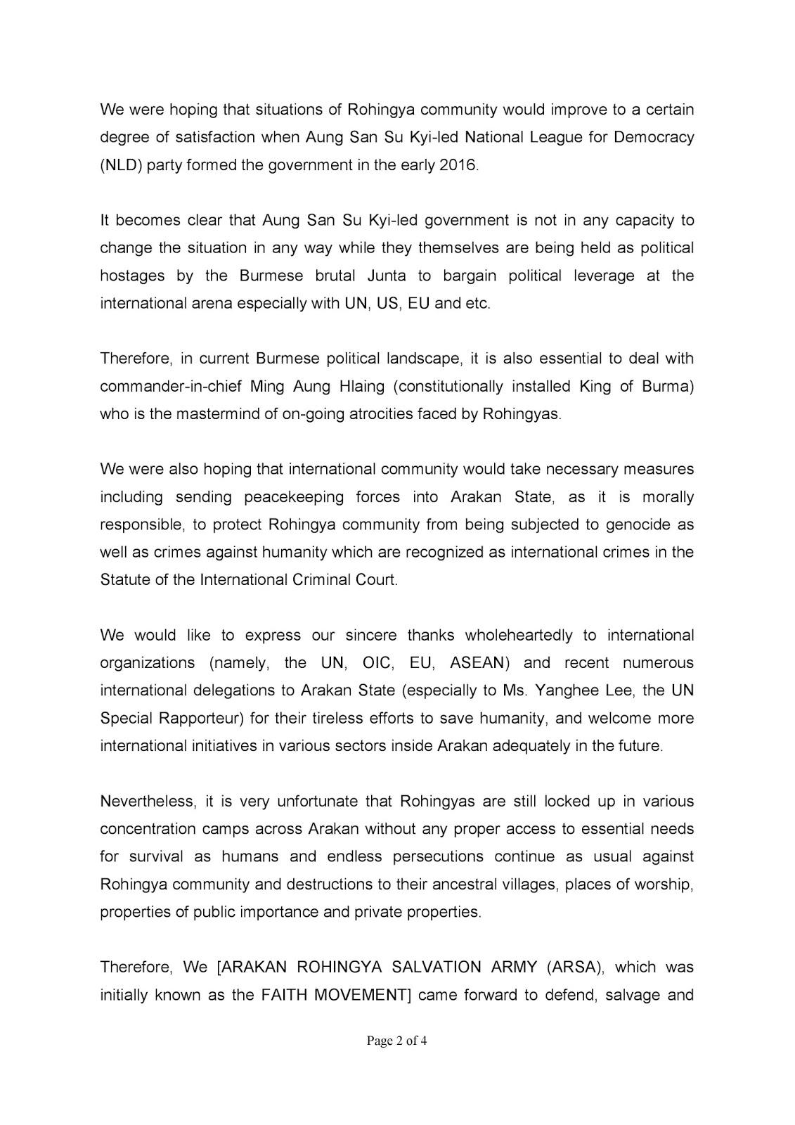 Rohingya Blogger: Statement of Arakan Rohingya Salvation Army
