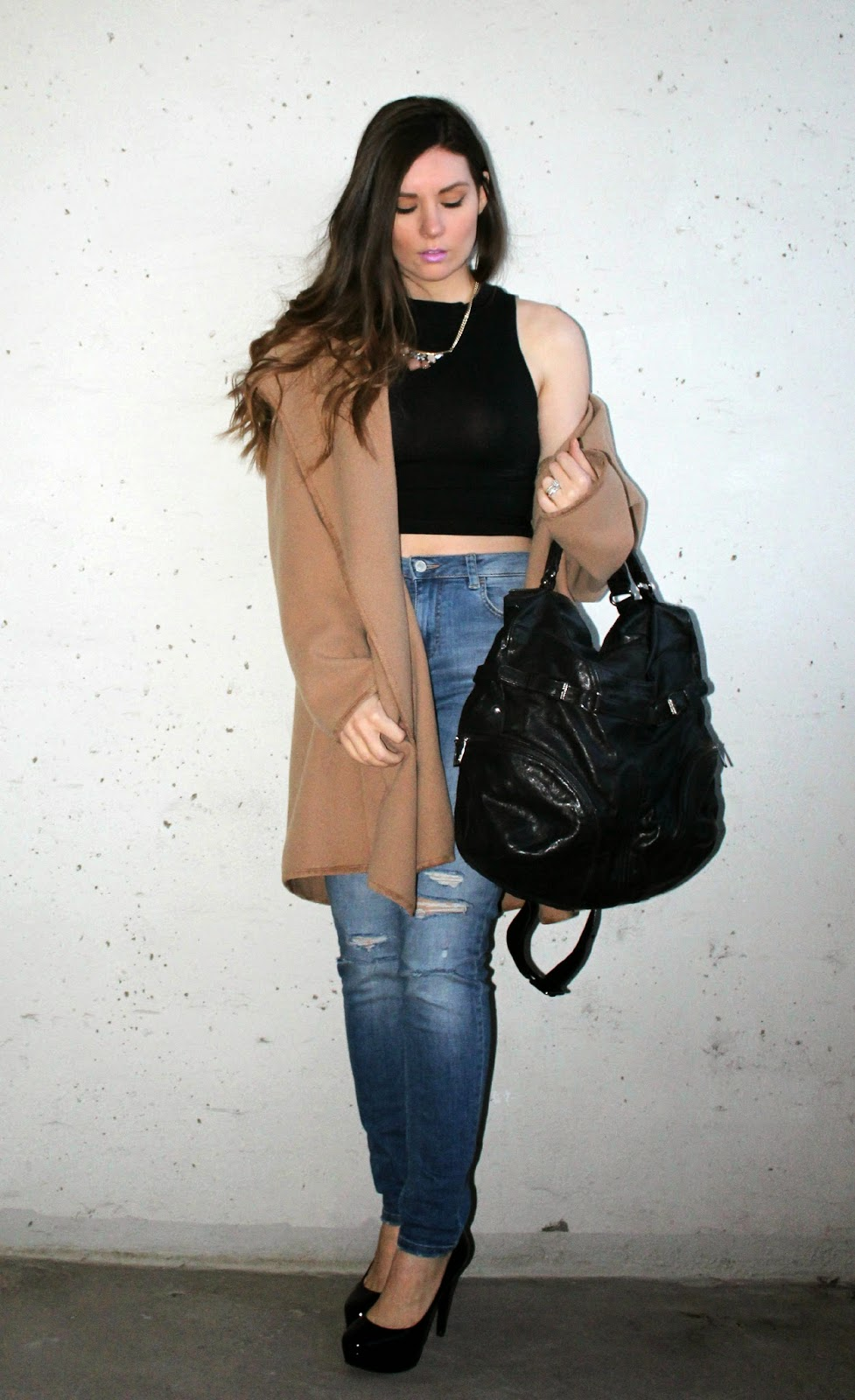 Camel Coat, Jeans, Crop top