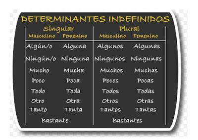 Resultado de imagen de DETERMINANTES INDEFINIDOS