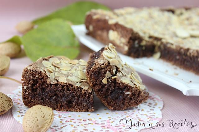 Brownie de almendra y chocolate sin gluten. Julia y sus recetas