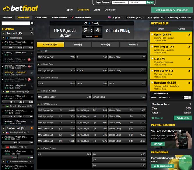 Betfinal Live Betting Screenshot