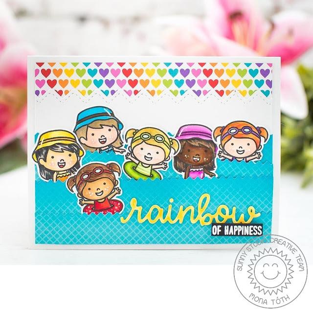 Sunny Studio Stamps: Coastal Cuties Human Rainbow of Happiness Heart Card by Mona Toth
