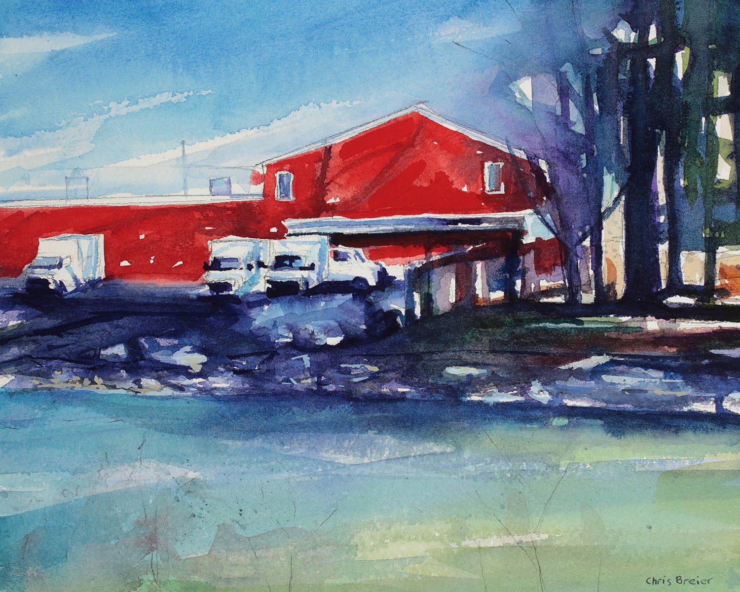 Watercolor painting of a building on Island Park in Williamsville NY