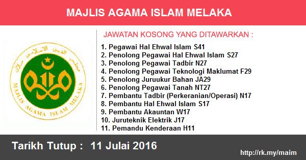 Jawatan Kosong di Majlis Agama Islam Melaka (MAIM)