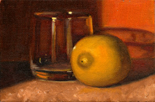 Oil painting of a lemon beside an old fashioned glass with orange background.