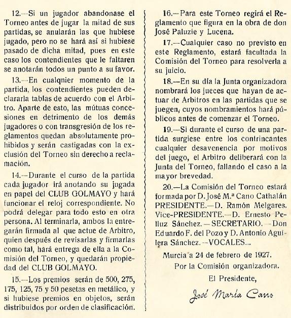 Segunda página del díptico del I Torneo Nacional de Ajedrez de Murcia 1927
