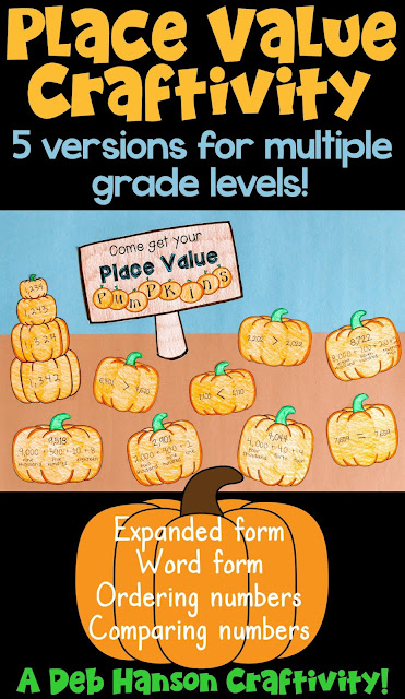 Place Value Pumpkins: A math craftivity- this includes five versions for multiple grade levels!