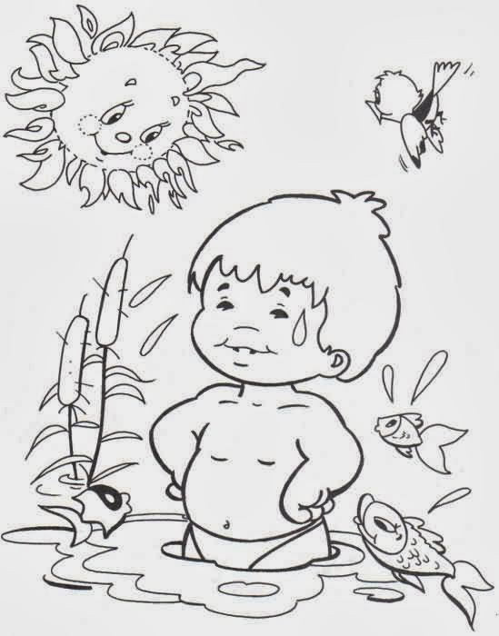 Dibujo De Niño Bañándose En El Río En Un Día Soleado Para