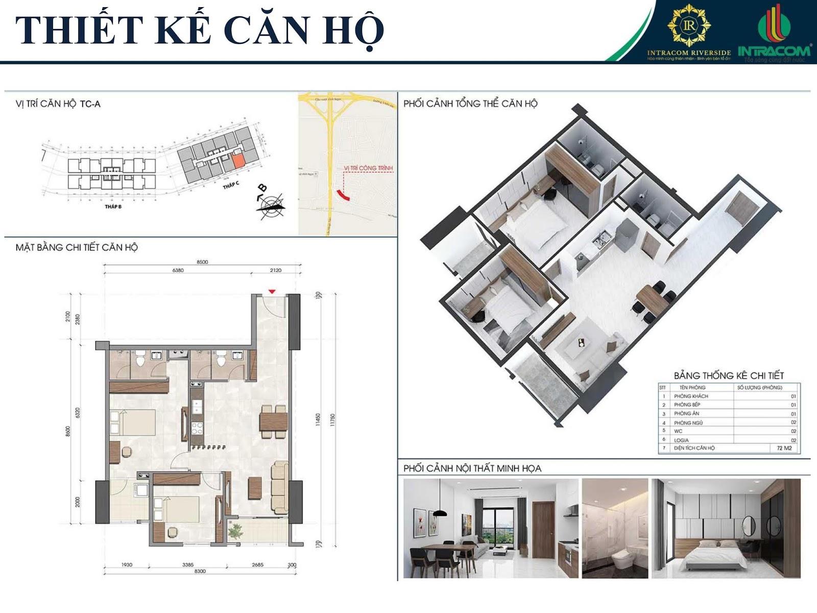 Thiết kế căn 09 - 12 - 72m2