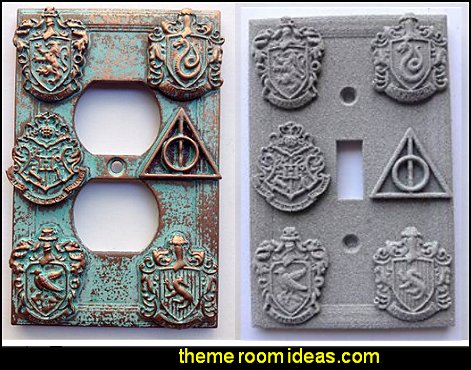 Harry Potter  House Crests Light Switch Coverss  Harry potter themed bedrooms - Harry Potter Room Decor - Harry Potter Bedroom Ideas - Harry Potter  bedding - Harry Potter wall decals - Harry Potter wall murals - harry potter furniture - harry potter party supplies - castle decorating props - harry potter party decorations