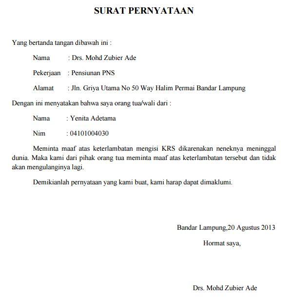 surat pernyataan maaf terlambat KRS