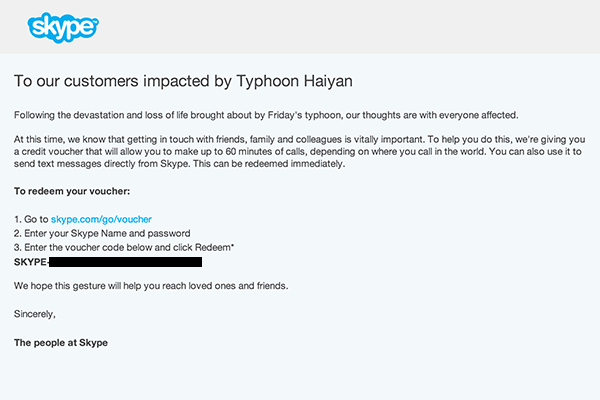 SKYPE gives away free credit for calls and text for typhoon-impacted