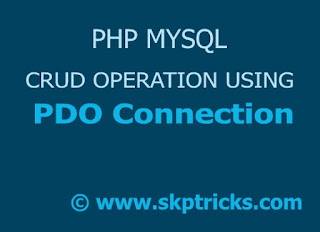 PHP MySQL connection using PDO skptricks
