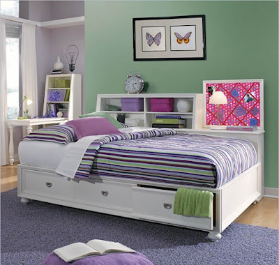 Elite Zoe Storage Platform Bed in White with Slate Pack