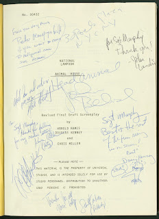 A title-page for an Animal House script, signed several times to Sergeant Murphy.