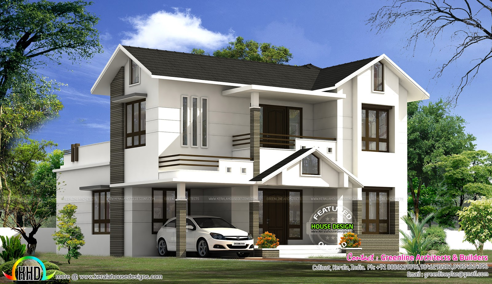 2199 sq ft simple modern home kerala home design and for Modern kerala style house plans with photos