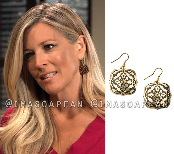 Carly Corinthos, Laura Wright, Brass Arabesque Drop Earrings, General Hospital, GH