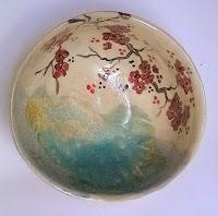 Annapia Sogliani handmade cup ceramic bowl made in Paris, France bol céramique grès décor engobe, fait à la main, service cerisiers japonais