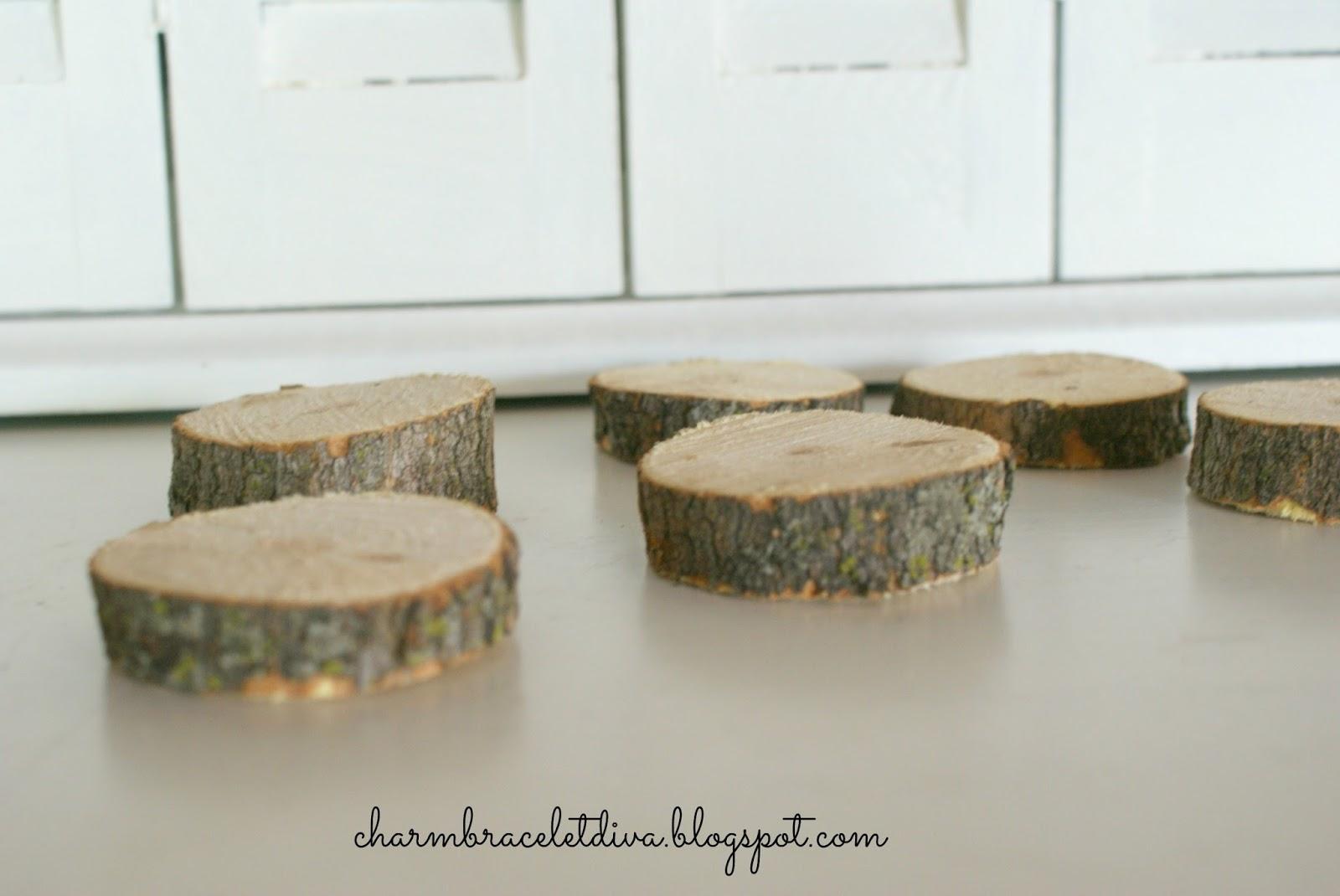 Our hopeful home diy rustic farmhouse wood slice coasters for Diy rustic coasters