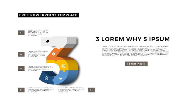3D Puzzle and Number Infographic Elements for PowerPoint Template Slide 9
