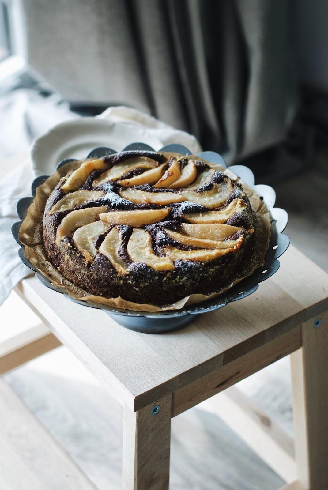 Czekoladowe ciasto z gruszkami bezglutenowe
