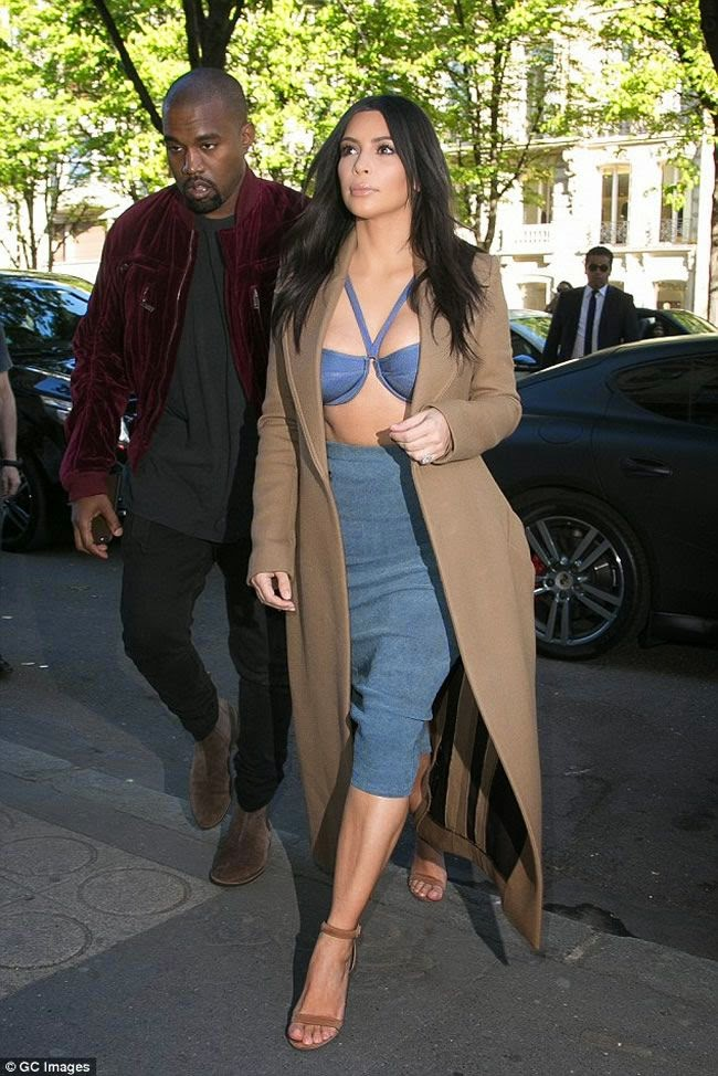 Kim Kardashian Sports Denim Bikini-style Top for Parisian Shopping Spre